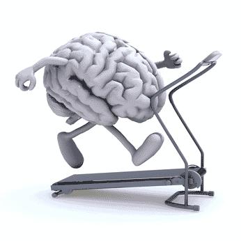 cerveau qui court sur un tapis de jogging